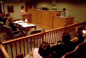 The Missouri Court of Appeals, Western District meets in the Weitzman Model Courtroom, which is also used by students for mock trials.