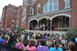 Students and parents listen to welcome speeches during the 2013 orientation.