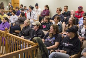 Students observe court in session.