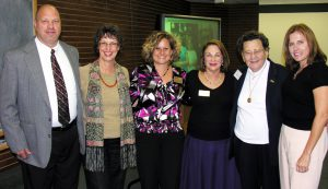Current and former social work faculty gather with Jane Bierdeman Fike at the program's 20th anniversary in 2008.