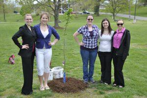 Organic Chemistry students Billie Henry, Rachael Ostrem, Jodie Dolan, Jessica Doran, Cassie Dunn