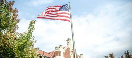 Flag waving on the William Woods University campus
