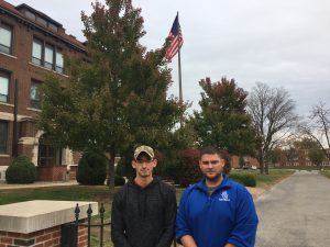 Students Daniel Lantz (left) and Shannon Graziano on the William Woods University campus.
