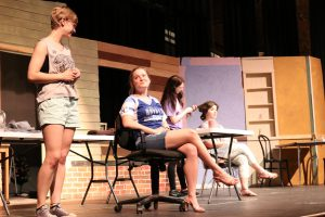 Photo of actors rehearsing Steel Magnolias