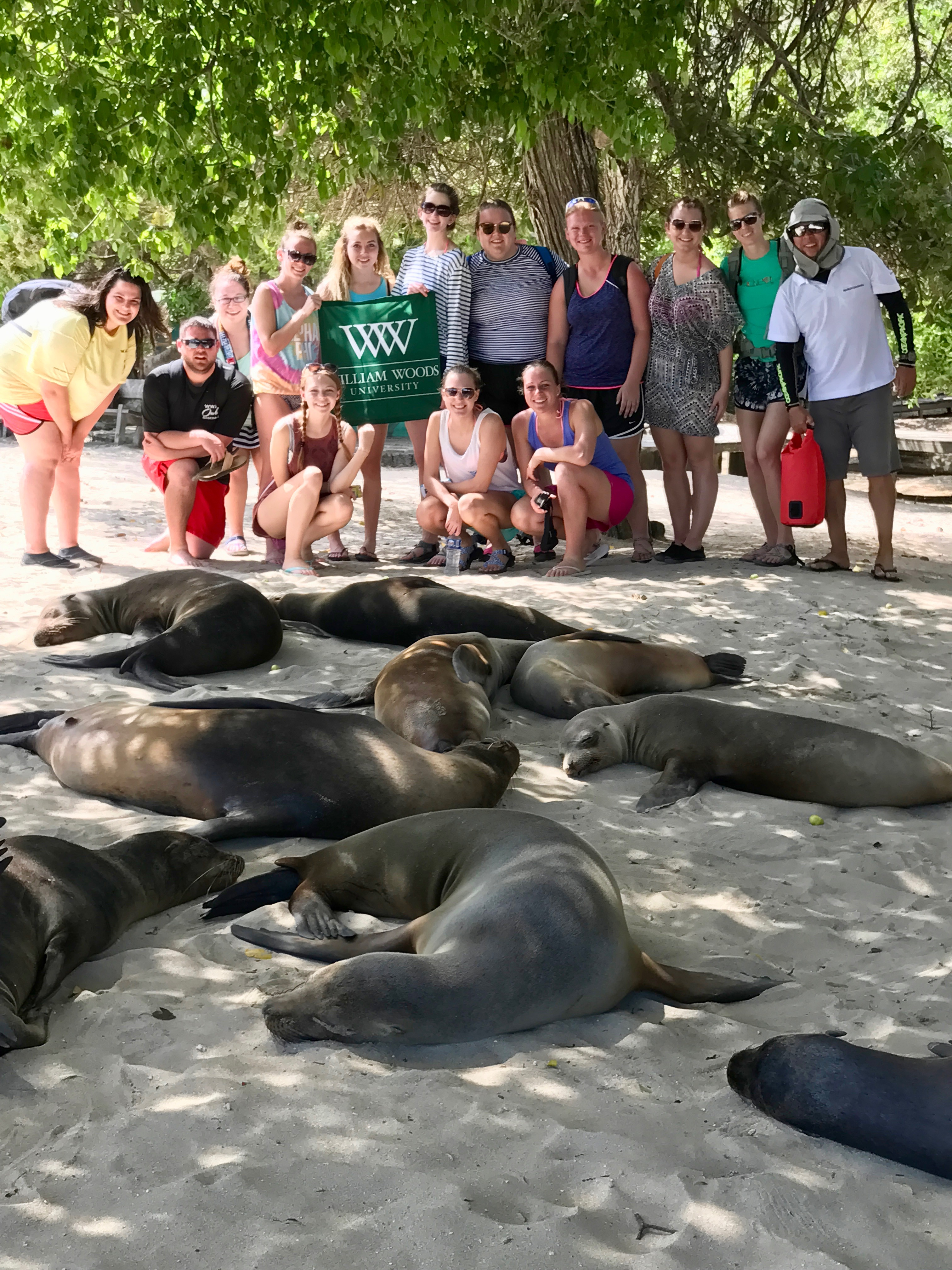 Students pose with sea lions resting on a beach