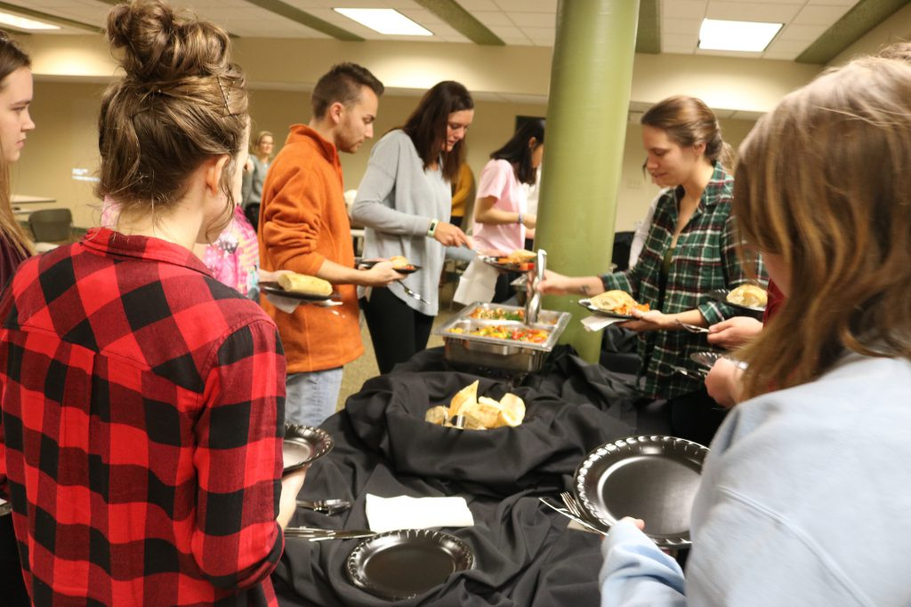 Students lining up to try food