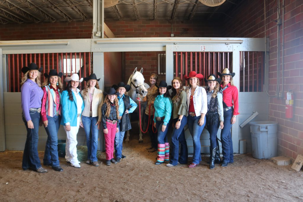 Miss Rodeo Missouri contestants with Denver Broncos mascot Thunder