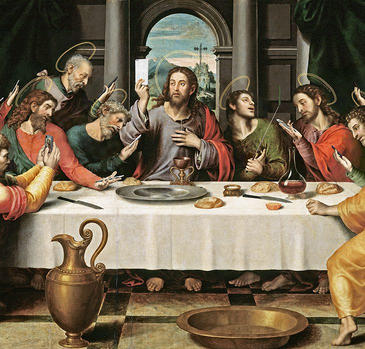 "A new take on ""The Last Supper"" entitled ""The Last Selfie"""