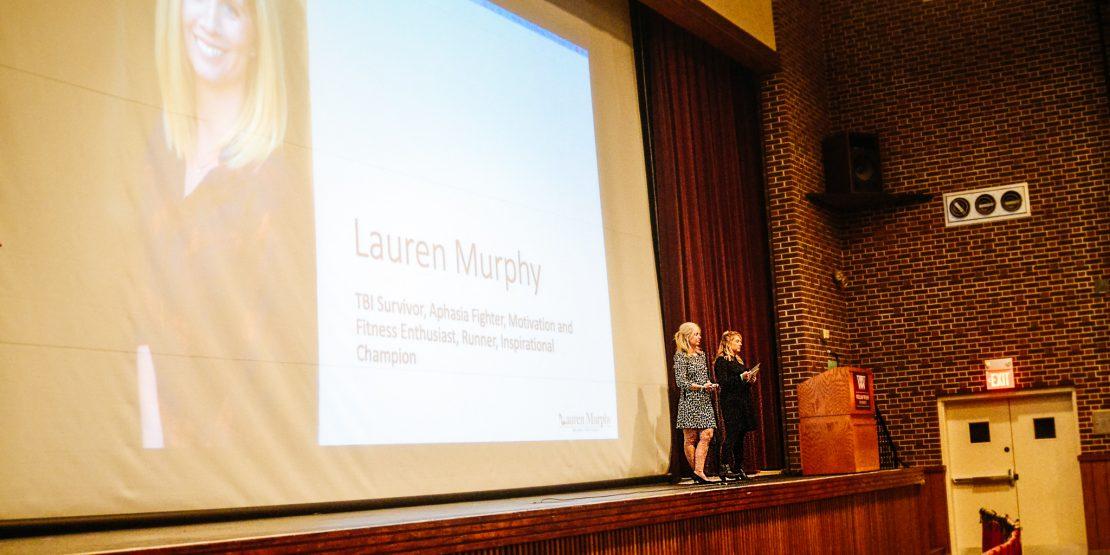 Lauren Murphy presenting in Cutlip Auditorium
