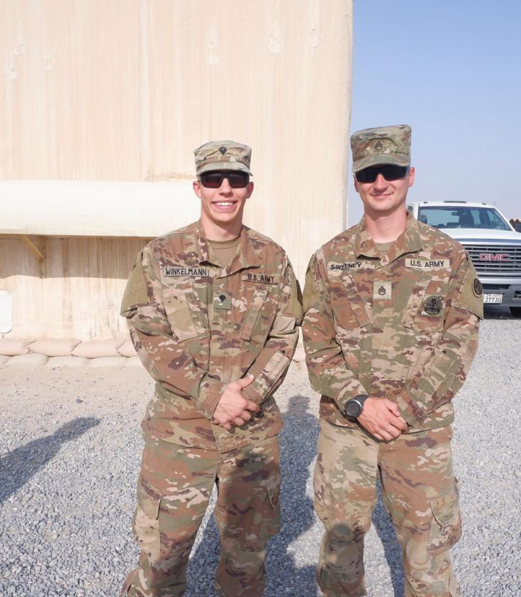 Brian Winkelmann with another member of the Army Reserve in the Middle East