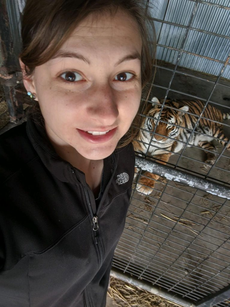 Photo of Julia with a tiger